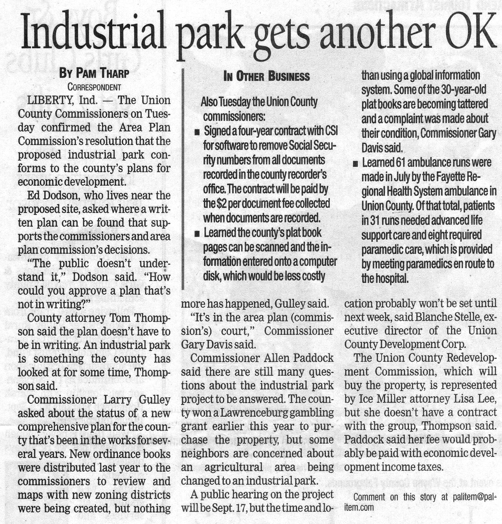 Industrial Park Gets Another OK - Palladium Item August 14, 2007