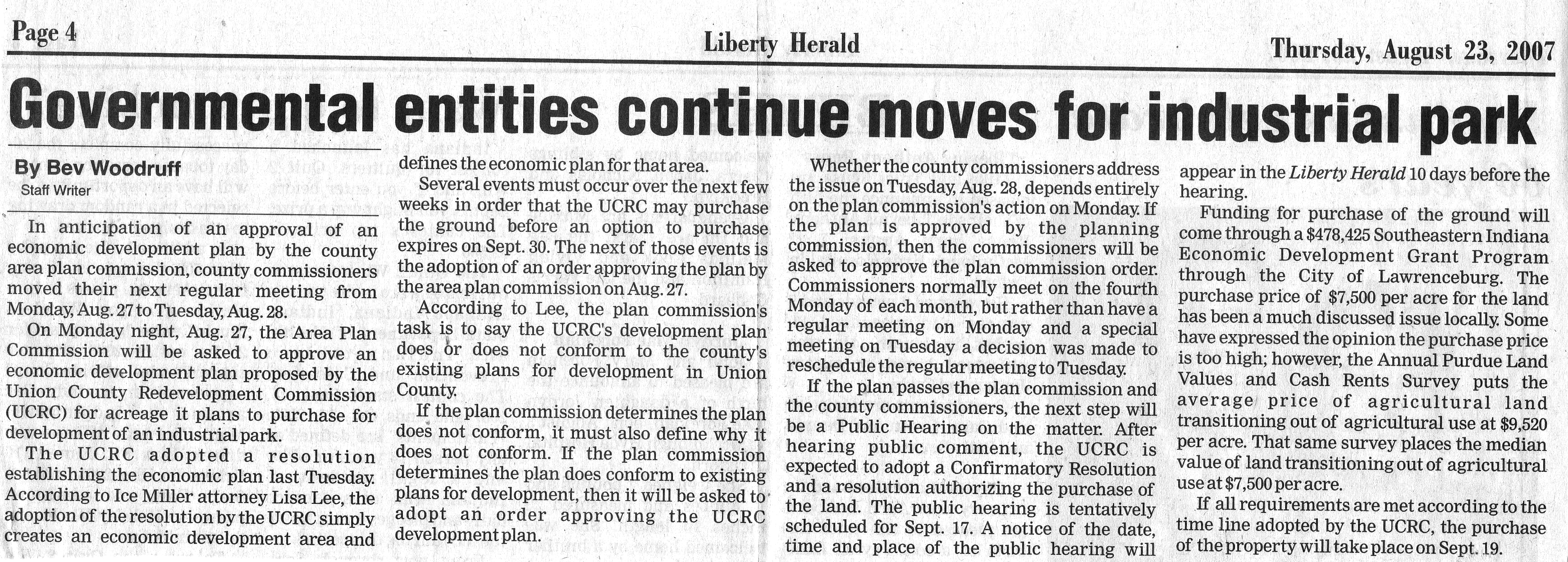 Governmental Entities Continue Moves For Industrial Park - Liberty Herald August 23, 2007