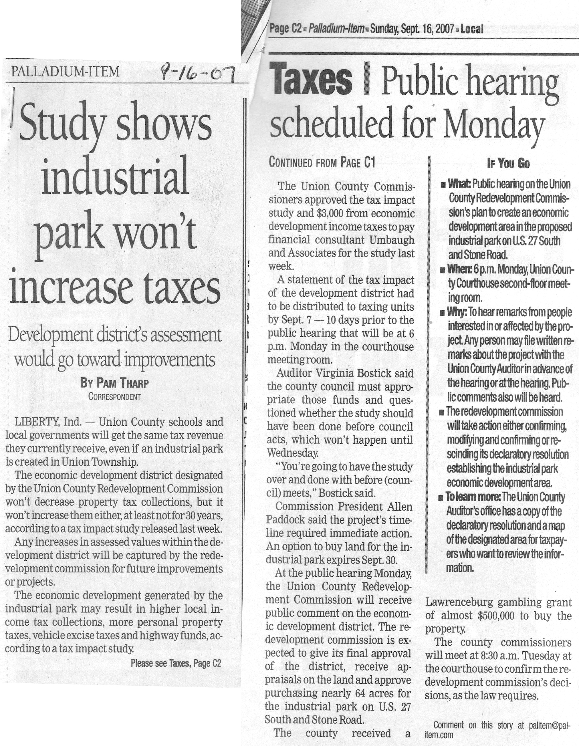 Study Shows Industrial Park Won't Increase Taxes - Palladium Item September 16, 2007