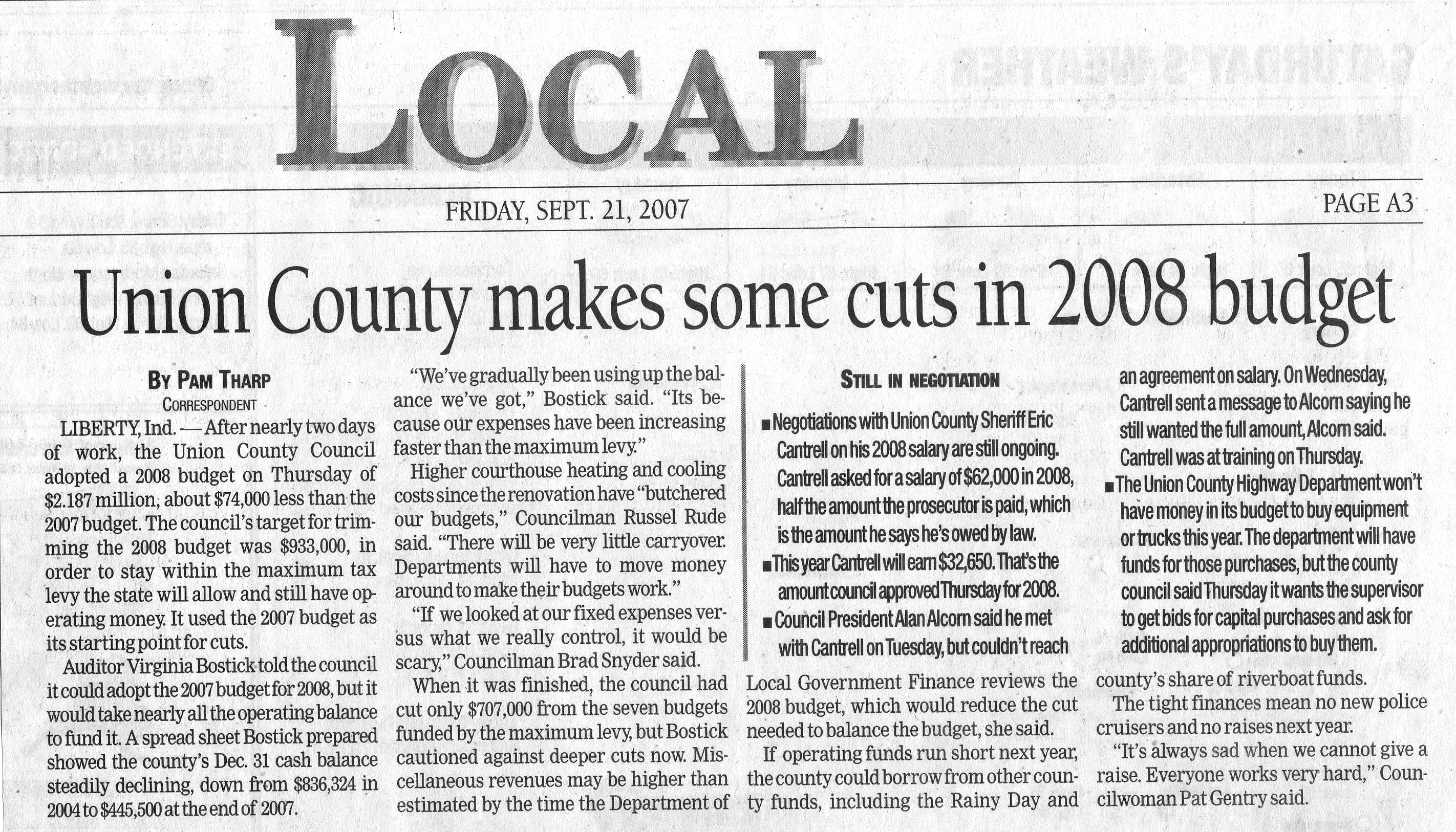 Union County Makes Some Cuts In 2008 Budget - Palladium Item September 21, 2007