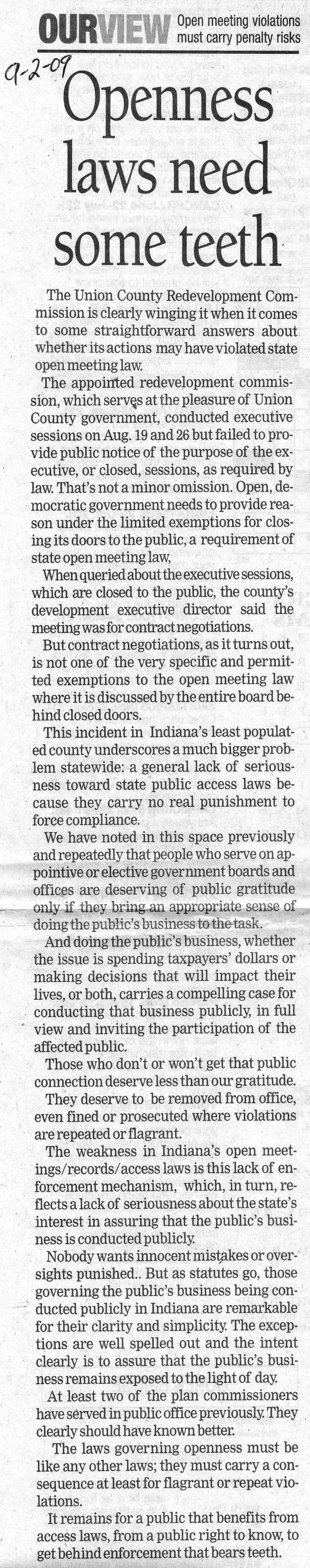 Openness Laws Need Some Teeth - September 2, 2009