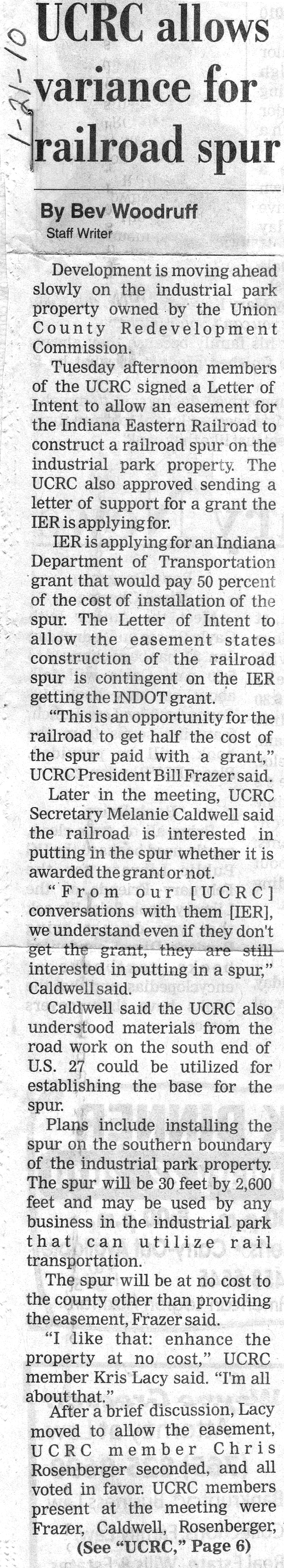 UCRC Allows Variance For Railroad Spur - Liberty Herald January 21, 2010