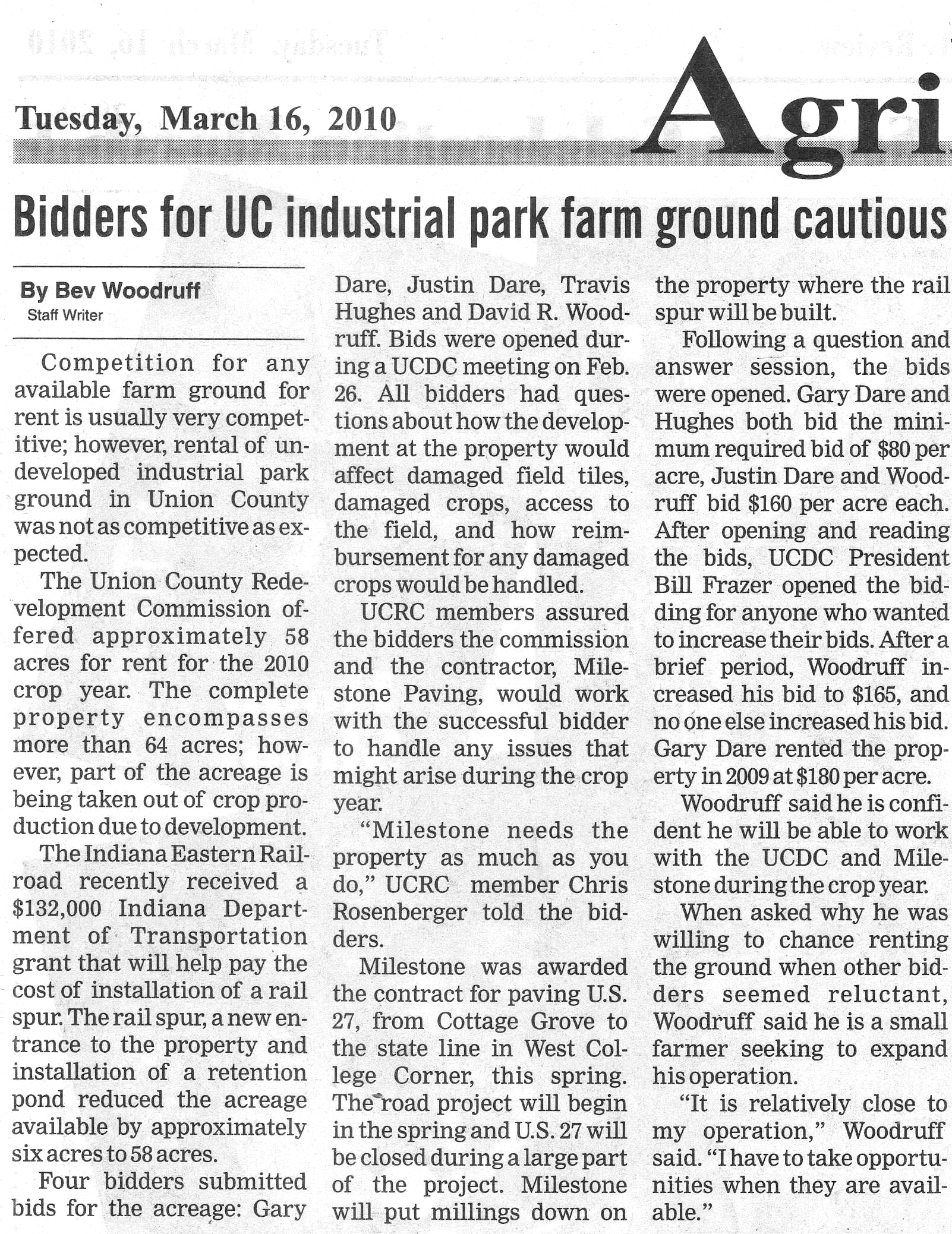 Bidders For UC Industrial Park Farm Ground Cautious - Liberty Herald March 16, 2010