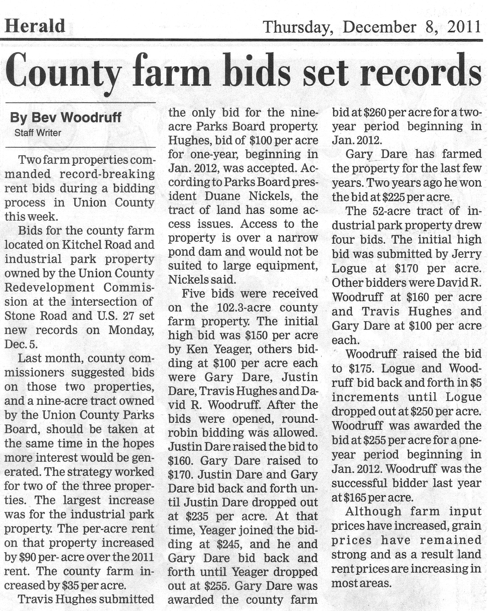 County Farm Bids Set Records - Liberty Herald December 8, 2011