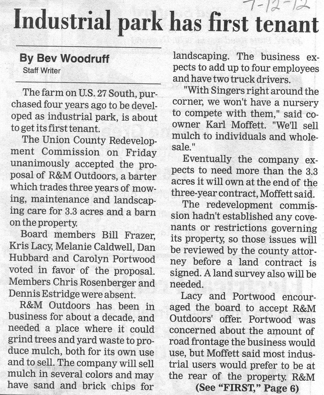 Industrial Park Has First Tenant - Liberty Herald July 12, 2012