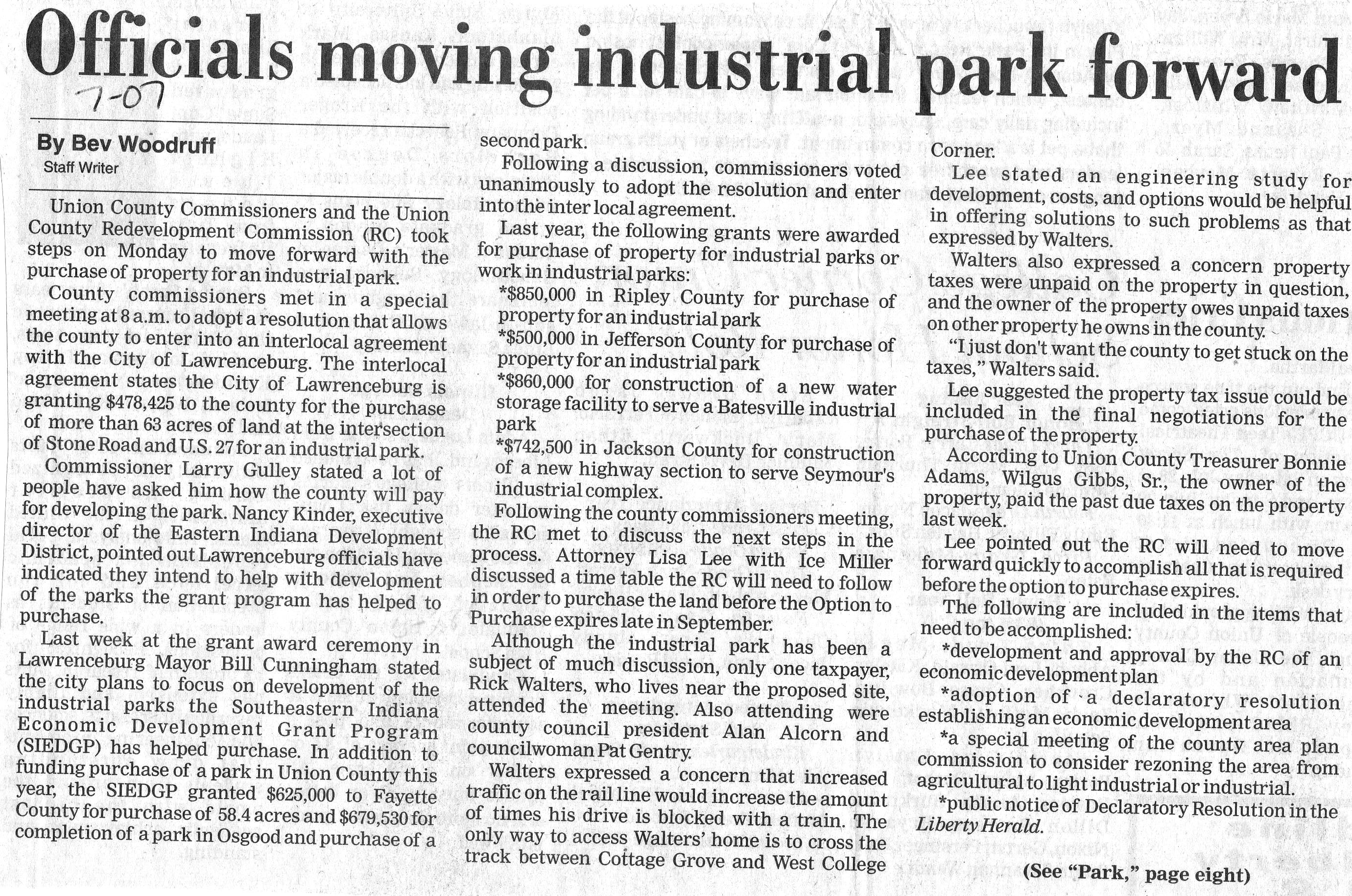 Officials Moving Industrial Park Forward - Liberty Herald July 1, 2007