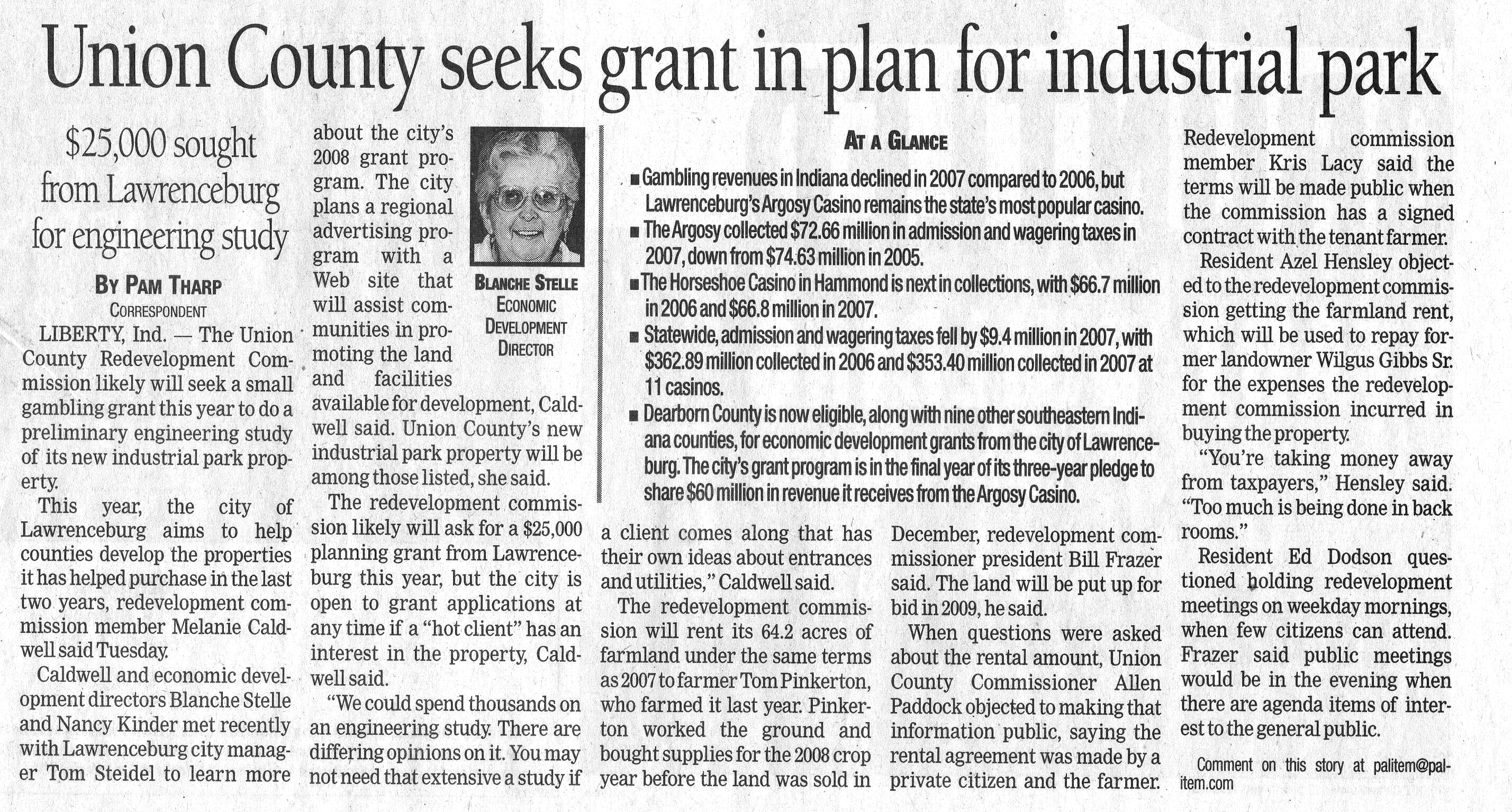 Union County seeks grant in plan for Industrial Park Palladium Item January 29, 2008